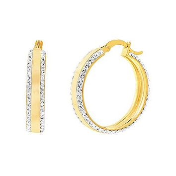 Devin Rose Womens Double Sided 30mm Hoop Earrings Made With Swarovski Crystals Various Colors