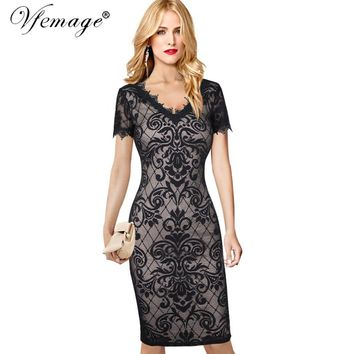 Vfemage Womens Sexy Geometry See Through Lace V Neck Fashion Chic Slim Casual Party Special Occasion Bodycon Sheath Dress 6741
