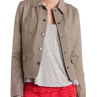 Khaki Top-Stitched Military Jacket by Charlotte Russe