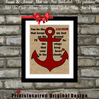 You Be The Anchor Quote Art: Custom Colors Nautical Home Wall Decor Print Poster 8x10