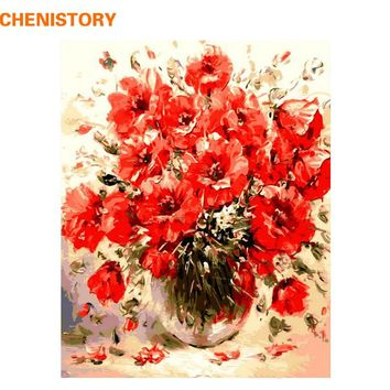 CHENISTORY Red Colorful Flower Diy Digital Painting By Numbers Kits Drawing Paint By Numbers Unique Gift For Home Decor Artwork