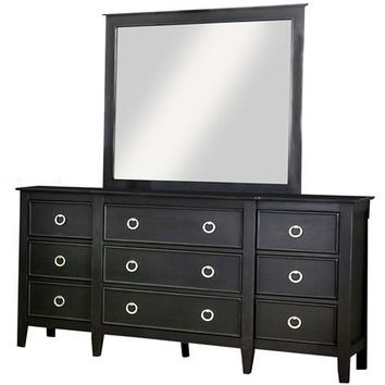 Contessa Transitional Multi Storage Dresser & Mirror Set