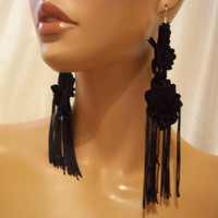 Beautiful And Sexy Black Lace Earrings, Lace Fringe Earrings, Black Lace Jewelry, Black Lace Accessories, Sexy Bride & Bridesmaid Jewelry