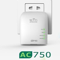 LTERIVER WiFi Range Extender WiFi Repeater 802.11 AC 750 Mbps Dual Band Concurrent Mini Wireless Router WiFi Repeater WiFi Range Extender Wireless Signal Booster Wireless Signal Amplifier(E750A)