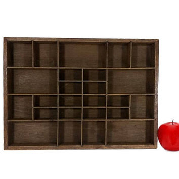 Divided Shadow Box Wall Hanging Wood Display Case Vintage Cubby Compartment Tray Collection Knickknacks Tabletop Shelf Organization