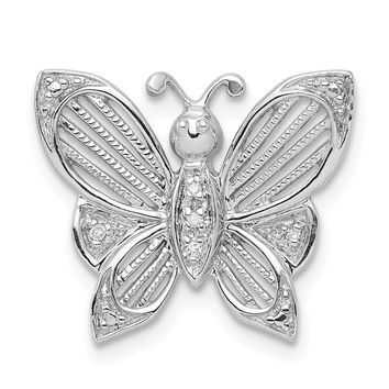 Diamond Textured Butterfly Pendant in Sterling Silver Necklace