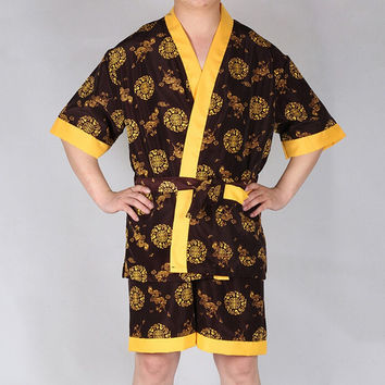 New Chinese Dragon Embroidery Sleepwear Set Summer Men Robes Sets Faux Silk Pajamas Men Home Wear Man Bath Gowns Pajamas