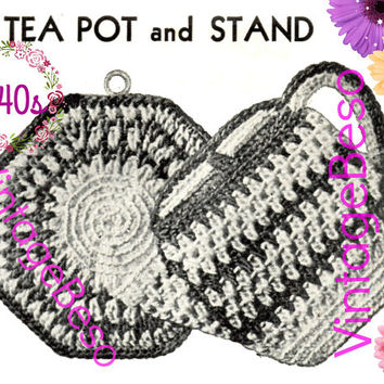 Tea Pot and Stand Potholder CROCHET Pattern • PdF Pattern • Vintage 1940s • Digital Pattern • Retro 1940s Potholder Set • Gift Hot Plate Mat