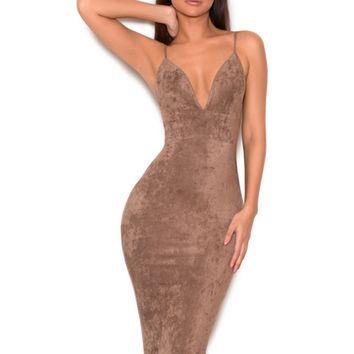 Vani taupe stretch suedette bralet dress