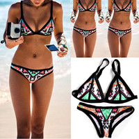 Women's Trending Popular Fashion Floral Printed Sexy Two-Piece Erotic Bikini Swim Suit Beach Bathing Suits Swimwear _ 6403