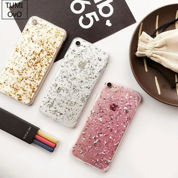 Luxury 3D Shine Bling Goldleaf Sequins Soft TPU Case For iPhone 5S 6 6s 7 Plus Back Phone Cover For iPhone 5 SE Capa Fundas