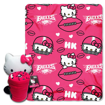 Eagles  40x50 Fleece Throw and Hello Kitty Character Pillow Set