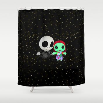 Halloween Babies | Jack | Sally | Christmas | Nightmare Shower Curtain by Azima