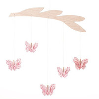 Pink Flowers Butterfly Origami Mobile