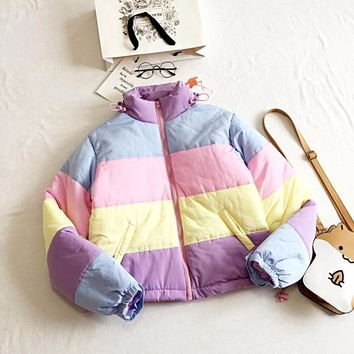 Pastel Stripes Puffer Coat