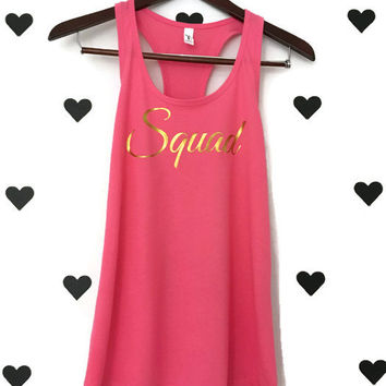 Squad bachelorette party shirts Pink Squad Bachelorette party tanks Pink SQUAD bridal party tank tops Pink Squad gold glitter lettering