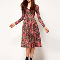 ASOS Midi Dress In Tapestry Print at asos.com