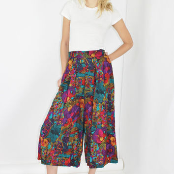 gauchos colorful culottes wide leg cropped pants high rise pants palazzo pants super wide leg small sm s