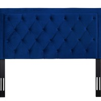 Nacht Queen Headboard in Navy Velvet