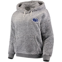 Penn State Nittany Lions Women's Relaxed Fit Sherpa Pullover Hoodie – Heathered Gray