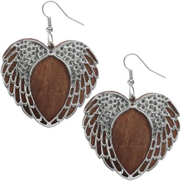Brown Wooden Heart Wing Earrings