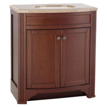 Shop Style Selections Delyse Auburn Integral Single Sink Bathroom Vanity with Solid Surface Top (Common: 31-in x 19-in; Actual: 30.75-in x 18.5-in) at Lowes.com