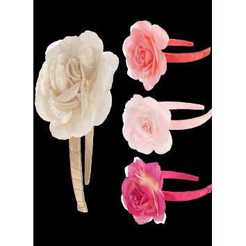 Rose Flower Floral Headpiece with a Satin Wrapped Headband in 13 Color Choices (Girls)