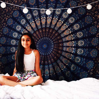 Peacock Indian Bedspread Tapestry Wall Hanging Dorm Decorative Feather – TheNanoDesigns