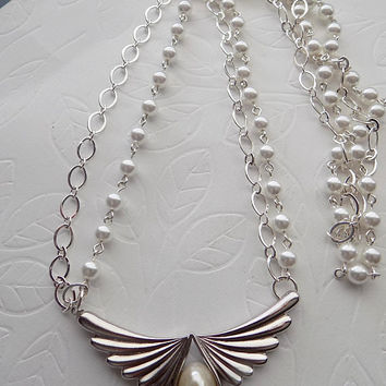 White Pearl and Silver Angel Wing Multi Strand Necklace  June Birthstone Pearl Feminine Necklace Mother's Day Gift for Her