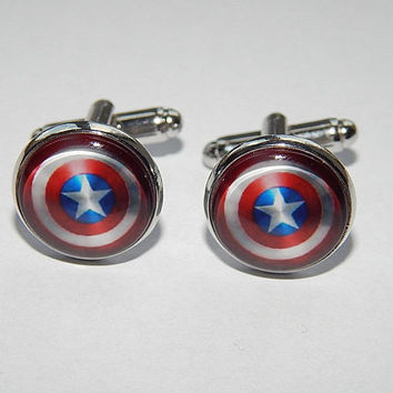 Superhero cufflinks, superhero jewelry, Captain America cufflinks, Captain America jewelry, wedding cuff link, groomsmen cufflinks, gift