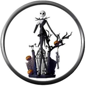 Standing At Gate Jack Skellington Halloween Town Nightmare Before Christmas 18MM - 20MM Charm for Snap Jewelry New Item