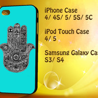 Evil Eye Hamsa Blue Mint iPod Touch 4 / 5 case, iPhone 4/4S / 5/ 5s/ 5c case, Samsung Galaxy S3/ S4 case