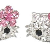 "X-small 1/4"" Stud Earrings w/ Pink Flower Bow - Silver Plated - Comes Gift Boxed"
