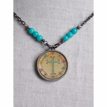 Jade Gemstone And Cross Necklace
