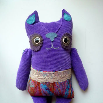 Margo the Purple Cat , soft art creature, toy by Wassupbrothers.