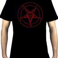 Red Pentagram Sabbatic Baphomet Men's T-Shirt Occult Clothing