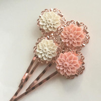 Rose Gold Hair Pins Flower Blush Decorative Hair Pins Peach Ivory Rose Gold Bridal Hair Pins Hair Accessories