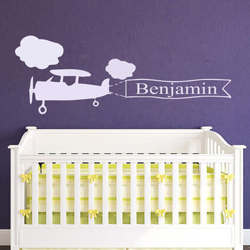Wall Decals Personalized Name Decal Plane Airplane Clouds Vinyl Sticker Boy Baby Children Nursery Bedroom Decor Art Murals US12