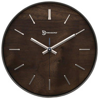 "Timekeeper 11"" Hastings Walnut Wall Clock With Chrome Accent"