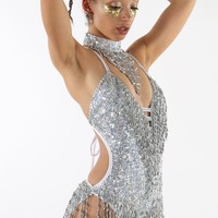 Shimmy Shimmy Holographic Silver Bodysuit • Easy Tiger