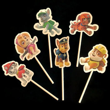 Paw Patrol cupcake toppers, kids birthday party decorations, 12 pieces