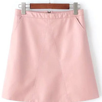 Pink Zippered Faux Leather Skirt