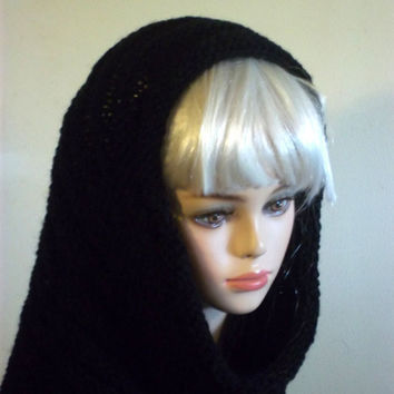 Knit Cowl Scarf Round Oversized Black