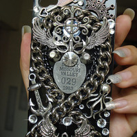 Custom Handmade Pure Metal Punk Style iPhone case , iPhone 4s case, iPhone 4 case Men' iPhone cases WoW iPhone case