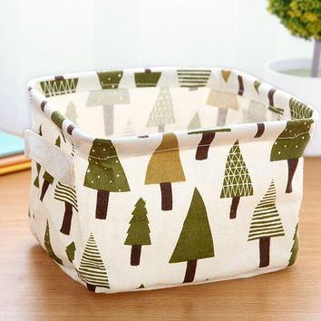 NEW Cotton & Linen Square Desk Storage Box Jewelry Cosmetic Holder Stationery Organizer