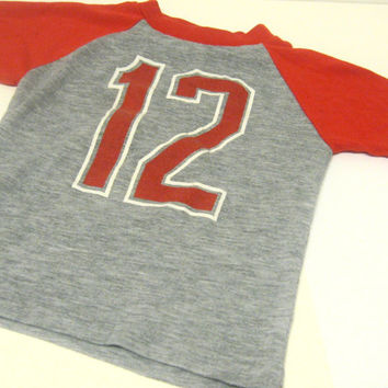 Kids Jersey T-shirt - Number 12 - Red Gray - Size 6-7