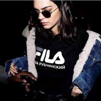 Fashion FILA Hot Sale Short Sleeve Tee Shirt Top Black(grey-white letters)