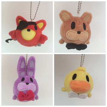 4pcs/set Tsum Tsum Mini plush toys five nights at freddy Bear Fox Stuffed Screen Cleaner  dolls  key chain accessory plush