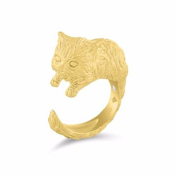Persian Cat Diamond Gold Ring