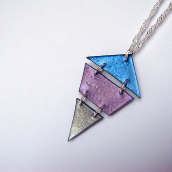 Geometric Necklace  Diamond Polymer Clay Pendant  by JustClayin